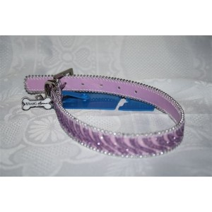 Collier FEERIE rose, collier fantaisie en simili-cuir, avec sa farandole de paillettes en camaïeu