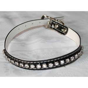 Collier en simili-cuir, avec cristaux Swarovski (noir) taille: 26 à 32 cm