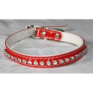 Collier en simili-cuir, avec cristaux Swarovski (rouge) taille: 26 à 32 cm