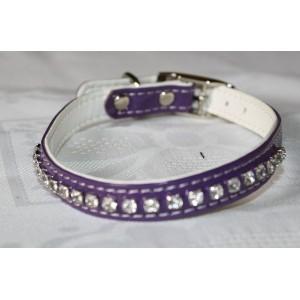 Collier en simili-cuir, avec cristaux Swarovski (violet) taille: 26 à 32 cm